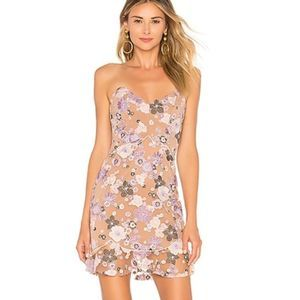 For Love and Lemons Posy Embroidered Mini Dress M